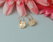 Small gold hammered disc earrings 14k gold filled minimalist