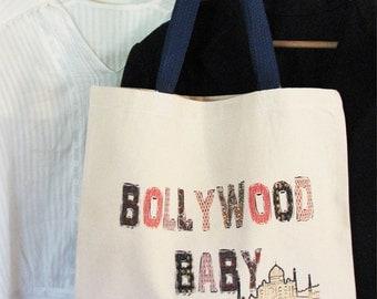 baby bag - vintage design BOLLYWOOD BABY - cotton canvas India tote bag