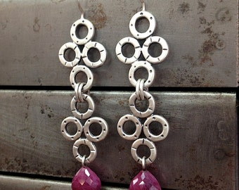 Sterling Silver Statement Earrings with Ruby Briolettes