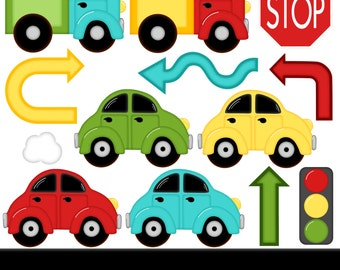 Vroom Car Digital Clipart - Set of 14 - Car, Truck, Road, Stop Sign, Arrows  - Instant Download - Item#8193