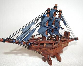 "Carved Ship, Sailing Ship, Pirate Ship, Wood Carving, Miniature Ship, Key West, Blue Sails, 11"" wide x 6-1/2"" high"