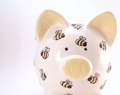 Bumble Bee Piggy Bank - Personalized Piggy Bank - Bug Theme Bank - Honey Bee Piggy Bank - Nature Theme Bank - with hole or NO hole in bottom