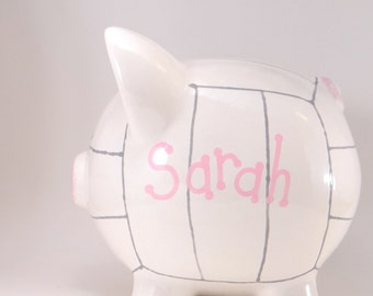 Volleyball Piggy Bank - Personalized Piggy Bank - Volleyball Ceramic Bank - Ceramic Sports Bank - with hole or NO hole in bottom