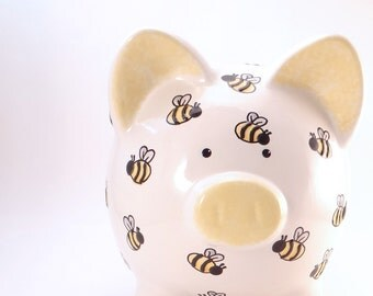 Bumble Bee Piggy Bank - Personalized Piggy Bank - Bug Theme Bank - Honey Bee Piggy Bank - Nature Theme - Mom Gift - with hole or NO hole