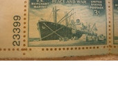 Vintage 3 Cent Plate Block Postage Stamp - Merchant Marines World War ll