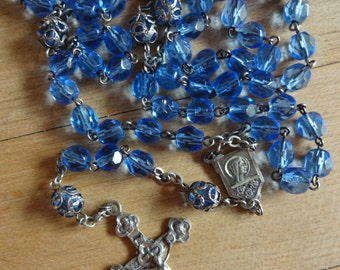 Antique Sterling Silver Rosary. Glass Beads, Paters are Caped with Sterling Silver Caps. Exquisite Find!