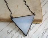 Triangle Glass Necklace Bib Geometric Jewelry