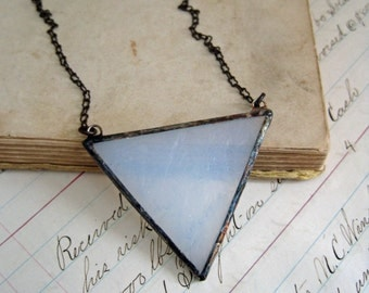Triangle Glass Necklace Bib Geometric Jewelry