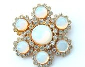 Vintage Moonstone Snowflake Brooch, Gifts Faux Opal Luminous White Glass Faux Diamond Jewelry