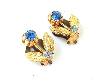 Antique Jewelry, Blue Faux Sapphire Rhinestone Petite Earrings, Floral Daisy Flower Gold Tone Leaf and Stem