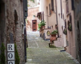 Rooms Fine Art Photography Ancient Italian city Tuscany cobbled streets Italy Stone Tuscan Style Large wall art winding streets sunny alley
