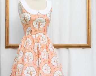 peter pan collar dress - women's dresses - coral dress - woodland printretro clothing - womens dress - rockabilly dress