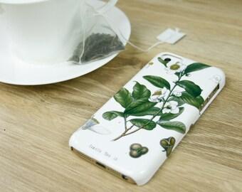 Tea Botanical iPhone 8 Case, Tea iPhone 7 Tea Leaf iPhone 8 Plus, Tea Leaf iPhone Case Gifts for Tea Lovers iPhone 6S Plus