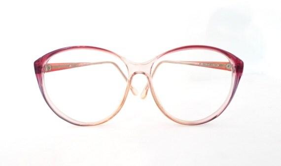 Huge Designer Cat Eye Glasses Disco Frames Clear Pink Rose MOD Vintage Eyeglasses or Sunglasses. Sale
