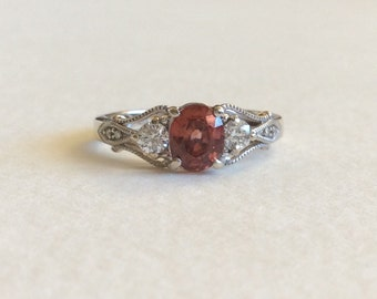 Pink Zircon and Diamond band ring in solid 14k gold