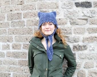 Chunky Cat Ear Flap Hat - Blue Tweed - Hand Knit Womens hat