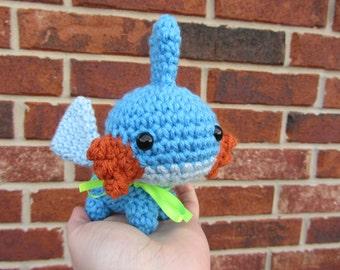 READY TO SHIP - Crochet - Chibi Pokemon Amigurumi - Mudkip. Pokemon Plush. Anime Manga Video Game Gamer Nintendo Gift Axolotl Hoenn Starter