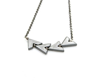 Arrow Necklace, Bowing Pendant, Chervon Necklace, Hematite Beaded Necklace, Geometric, Modern Style Mei Faith