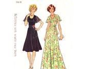 1970s Dress Pattern Simplicity 7382 Vintage Flared Dress Knee or Maxi Dress Flounce Collar Womens Sewing Pattern Size 10 UNCUT