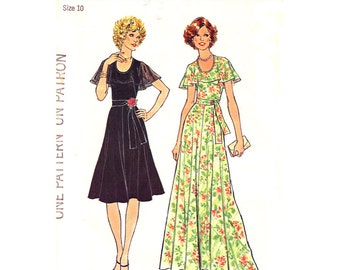 1970s Dress Pattern Simplicity 7382 Flared Dress Cape Collar Maxi Dress Flounce Collar Vintage Womens Sewing Pattern Size 10 UNCUT