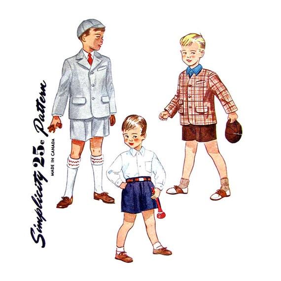 Vintage 40s Boys Suit Jacket Short Trousers & Cap Simplicity 3115 Size 4