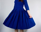 Vintage 50s 60s Royal Cobalt Blue NEW LOOK Party Dress with Deep Plunge Back (sz S M 2 4 )