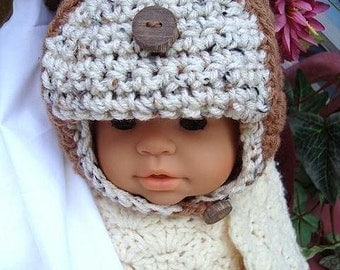 Crochet Pattern - Little Aviator Hat-- PDF 40 -Sizes 3 months to 12 years. Permission to sell your finished items..