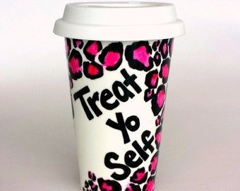Ceramic Travel Mug Treat Yo Self Pink Leopard Print Black White Hand Painted Cheetah Porcelain Tumbler - MADE TO ORDER