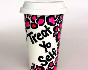 Ceramic Travel Mug Treat Yo Self Hand Painted Leopard Animal Print Pink Black White Cheetah Porcelain Tumbler - MADE TO ORDER