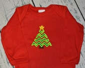 Chevron Christmas Tree Bodysuit CLEARANCE size 6-12 month