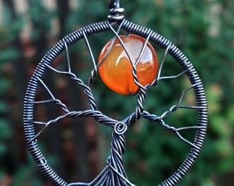 Harvest Moon Tree of Life Pendant - Sterling Silver and Carnelian