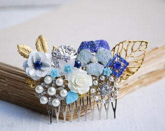 Something Blue HAIR COMB Bridal Wedding Vintage Jewels Turquoise Wedding Vintage Wedding Bride