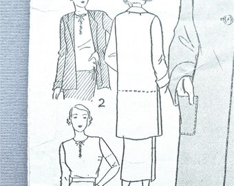 1930s Excella E4819 Blouse Skirt and Coat Vintage Sewing Pattern  Bust 34 inches