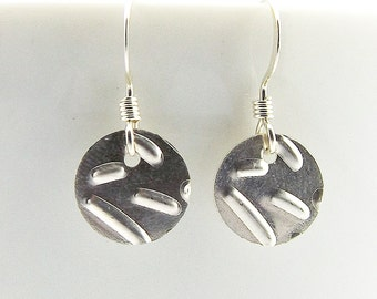 Sterling Silver Confetti Disc Earrings, Minimalist Womens Disc Earrings, Circle Coin Earrings