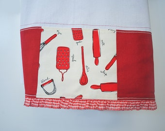 Flour Sack Kitchen Towel - Patchwork - Red Kitchen Towel