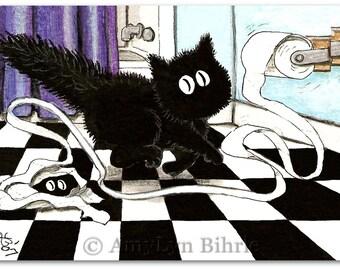 Peek&Boo Black Cat Bathroom Humor Kitty Treadmill  -ArT Print by Bihrle pb48