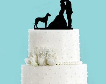 Couple Kissing with Great Dane Standing Wedding Cake Topper