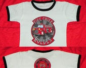 Kids Fire Engine Birthday Shirt. FD Crest and Caption on Back. Childrens Fireman Birthday Party. Personalized Firetruck Tee