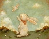 Hello Bunny Print 8x8 - Bunny Print, Bunny Art, Kids Art, Bunny Art Print, Woodland Nursery Art, Bunny Rabbit Baby Art, Girl, Boy, Rabbit