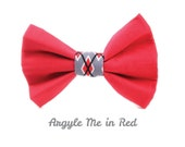 Argyle Dog Bow Tie, Removable and Adjustable, Argyle Me in Red