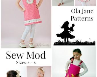 Summer SEW MOD Reversible Jumper Dress Pattern - Instant Download - PDF Pattern - Size 2 Toddler Girl  - 8  child Sewing Pattern
