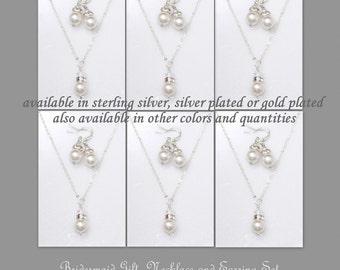 Set of 6 Bridesmaid Gift, Bridesmaid Jewelry Set of 6, Wedding Jewelry Set, Swarovski Necklace and Earring Set, Swarovski Jewelry Set