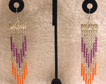 Silver Design Findings with Silver, Purple and Orange Chains Earrings
