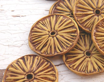 Wild Meadow - Rustic Aster Wheel carved tribal boho chic wildflower disc beads  - set of 2 beads (ready to ship)