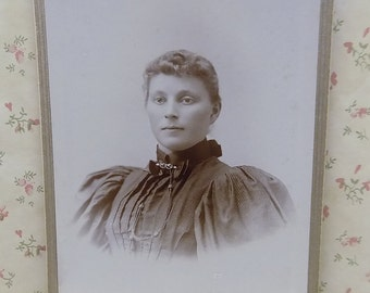 Pretty Lady-Hairstyle-Fashion Dress-Pin-Antique Cabinet Photo-Sioux Falls,SD