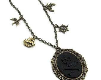 SALE 50% OFF Gothic Lolita Necklace - Black Beard - Solid Black Pirate Cameo with Antiqued Brass Nautical Charms - By Ghostlove