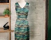 SALE - Celine Silk Liberty Print Dress - sheath dress - silk dress - green dress - v-neck dress - semi formal cocktail dress