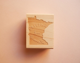 Greetings from Minnesota State Original Hand Lettered Rubber Stamp