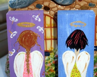 ADORABLE ANGEL red and black hair on Wood ORIGINAL Hand Painted Beautiful Piece