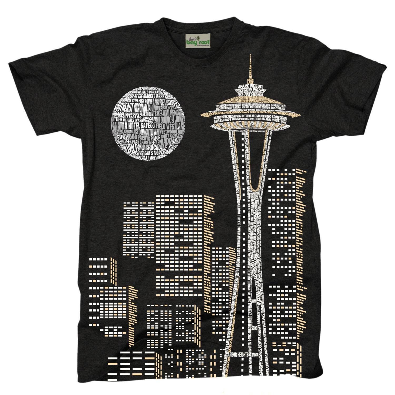Seattle skyline in words t shirt for Seattle t shirt printing